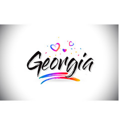 Georgia welcome to word text with love hearts and vector