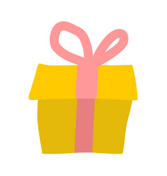 gift isolated yellow box and red bow on white vector image