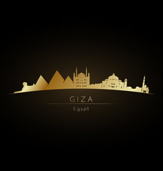 Golden logo giza city skyline silhouette vector