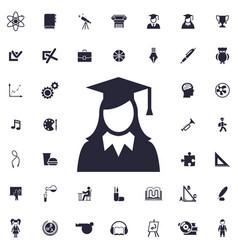 Graduate woman icon vector