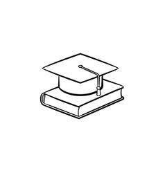 graduation cap on book hand drawn sketch icon vector image