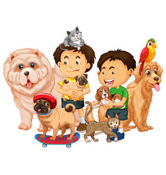 group pet with owner on white background vector image