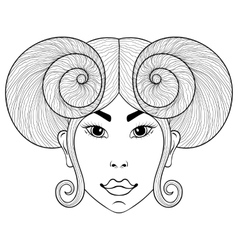 hand drawn entangle zodiac sign aries with girl vector image