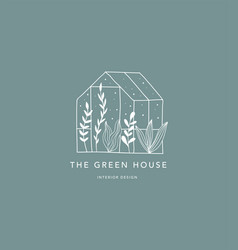 Hand drawn home green house logo icon vector