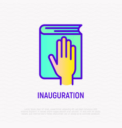 Hand on constitution icon oath on inauguration vector