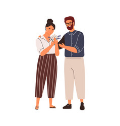 happy couple hugging at romantic date flat vector image