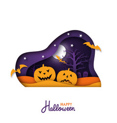 happy halloween paper art greeting card paper cut vector image