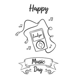Happy music day collection style vector