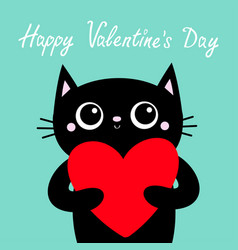 happy valentines day black cat holding big red vector image