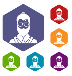 hipsster man icons set vector image