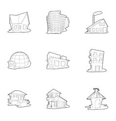 House icons set outline style vector image