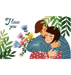 i love you a man hugs a woman holding a gift - a vector image