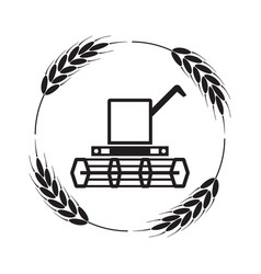 icon combine harvester and wheat ears vector image