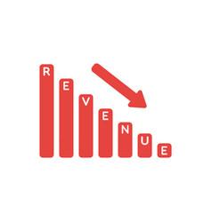 Icon concept of revenue sales bar graph moving vector