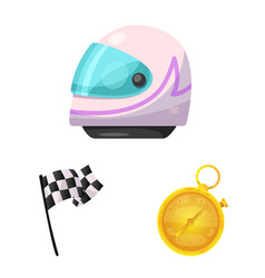 isolated object of car and rally sign set of car vector image