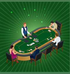 isometric men and women playing poker in casino vector image