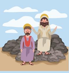 Jesus the nazarene and matthew in scene in desert vector