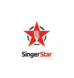 Karaoke sing vocal audition microphone star logo vector