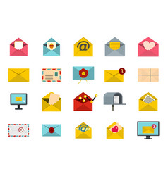 letter icon set flat style vector image