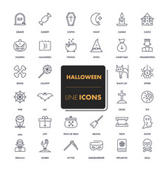 line icons set halloween vector image
