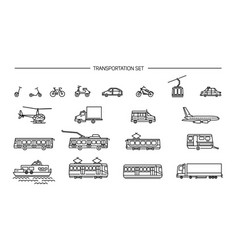 lineart icon set with ground transport aviation vector image