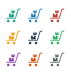 Luggage cart icon white background vector