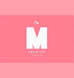 M pink white alphabet letter logo icon design vector