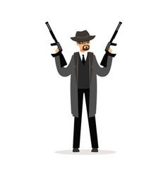 Mafia man character in gray coat and fedora hat vector