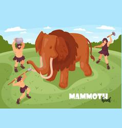 mammoth hunt isometric background vector image