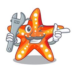 mechanic underwater sea in the starfish mascot vector image