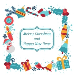 Merry Christmas and Happy New Year invitation card vector image