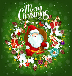 merry christmas holiday poster with santa claus vector image