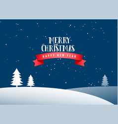 merry christmas winter landscape background vector image