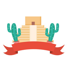 mexican pyramid with cactus frame vector image