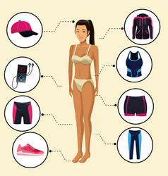 Model woman with fitness clothes vector