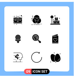 Modern set 9 solid glyphs pictograph lost vector