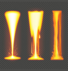 Molten metal or lava effect on transparent vector