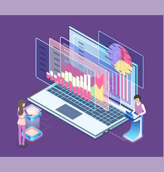 monitor laptop with digital information vector image