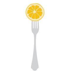 Orange on fork vector image vector image