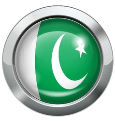 Pakistan flag metal button vector image