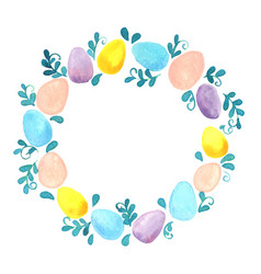 pastel eggs and ivy green wreath watercolor vector image