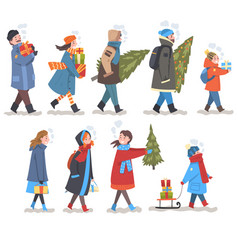 people in winter clothing carrying gift boxes and vector image