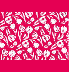 pink and white sketch tulip seamless pattern vector image