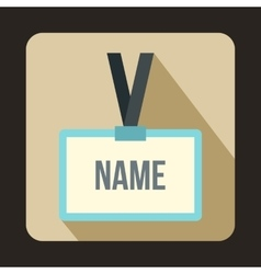 Plastic Name badge with gray neck strap icon vector