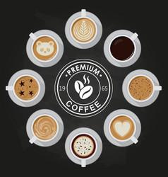 premium coffee cups americano latte espresso vector image