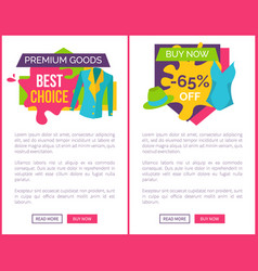 Premium goods best choice promo emblem with jacket vector