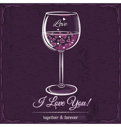 Purple love card with a glass of wine filled vector image
