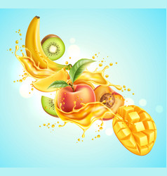 realistic tropical fruit in juicy explosion vector image