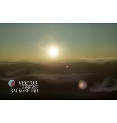Retro landscape with clouds and sun vector
