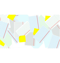 scattered on the table sheets of paper light vector image